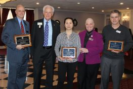 Pictured from Left to Right are: Glenn Thurnes, 2016 Business Person of the Year, Bruce Bristol, Beautification Award Winner Lily Chen of the Asian Diner, RACC President Linda Dora and Beautification Award Winner  Mike Staufenberger of Stifel Investment Services.